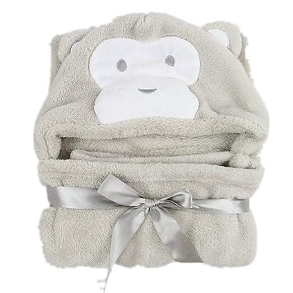 maxmia – Toalla con capucha para bebé gris Mono