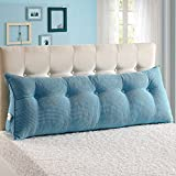 Vercart Sofa Bed Large Filled Triangular Wedge Cushion Bed Backrest Positioning Support Pillow Reading Pillow Office Lumbar Pad with Removable Cover Sky blue 70x7.9x19inch