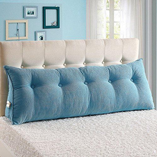 VERCART Sofa Bed Large Filled Triangular Wedge Cushion Bed Backrest Positioning Support Pillow Reading Pillow Office Lumbar Pad with Removable Cover Sky Blue 47x7.9x19inch