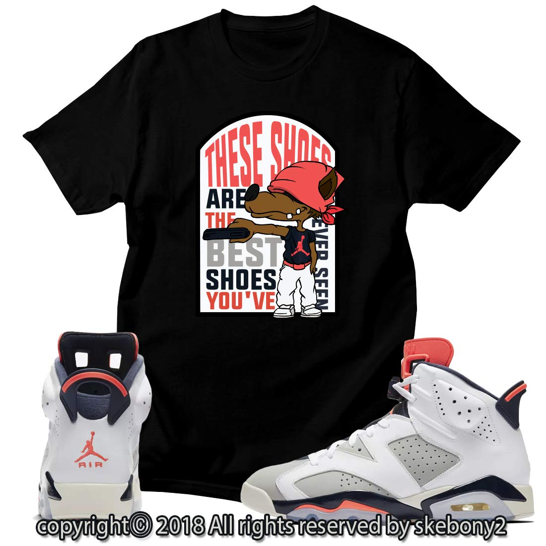 bff247d03c7669 Amazon.com  Custom T Shirt Matching Style of AIR Jordan 6 Infrared Tinker  JD 6-10-22  Clothing
