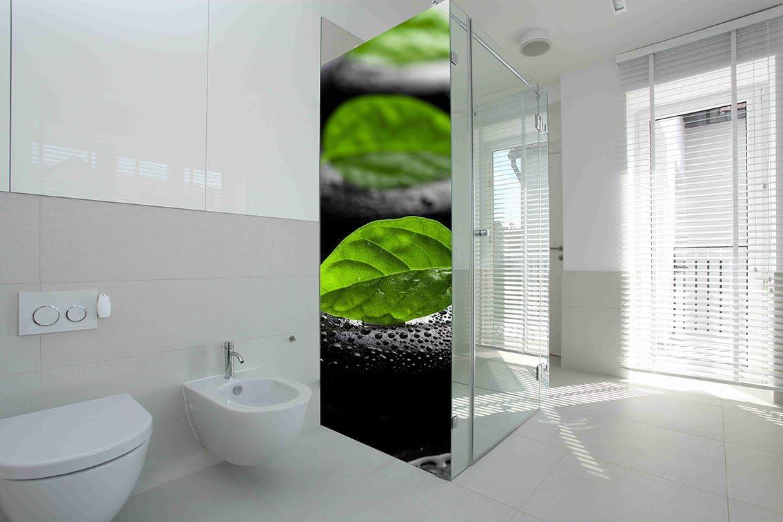 Vinilo para Mamparas baños Piedras Negras y Hojas |Varias Medidas 200x60cm | Adhesivo Resistente y de Facil Aplicación | Pegatina Adhesiva Decorativa de Diseño Elegante|: Amazon.es: Hogar