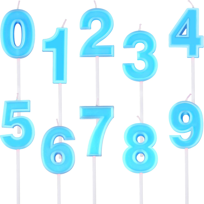 Maitys 10 Piezas de cumpleaños Cake Topper Velas 0-9 Número de Velas clásicas no tóxicas Velas de Cera para Suministros de cumpleaños (Azul)