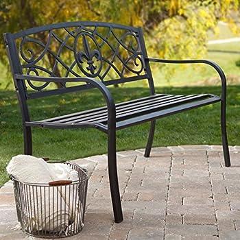 Curved Back Garden Bench, Antique Black