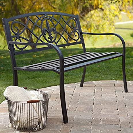 Curved Back Garden Bench, Antique Black