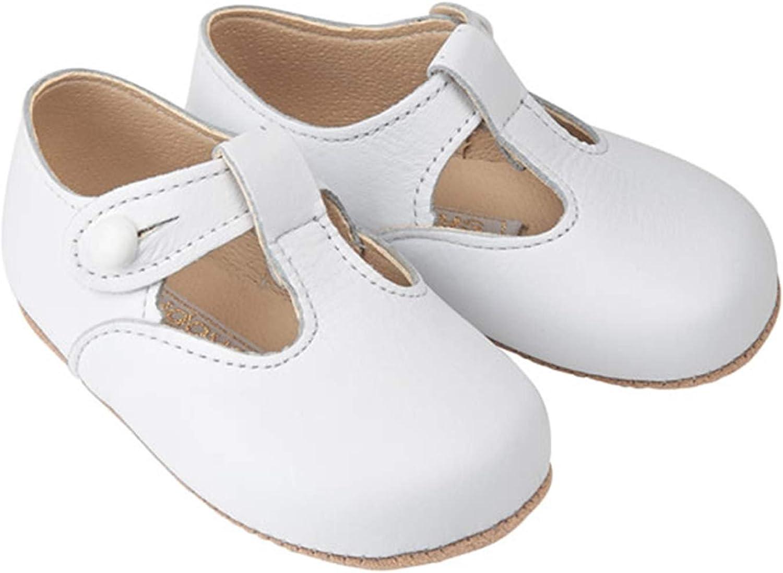Early Days Alex Pre Walker T-bar zapatos de cuero para bebé, zapatos para cochecito, hechos en Inglaterra