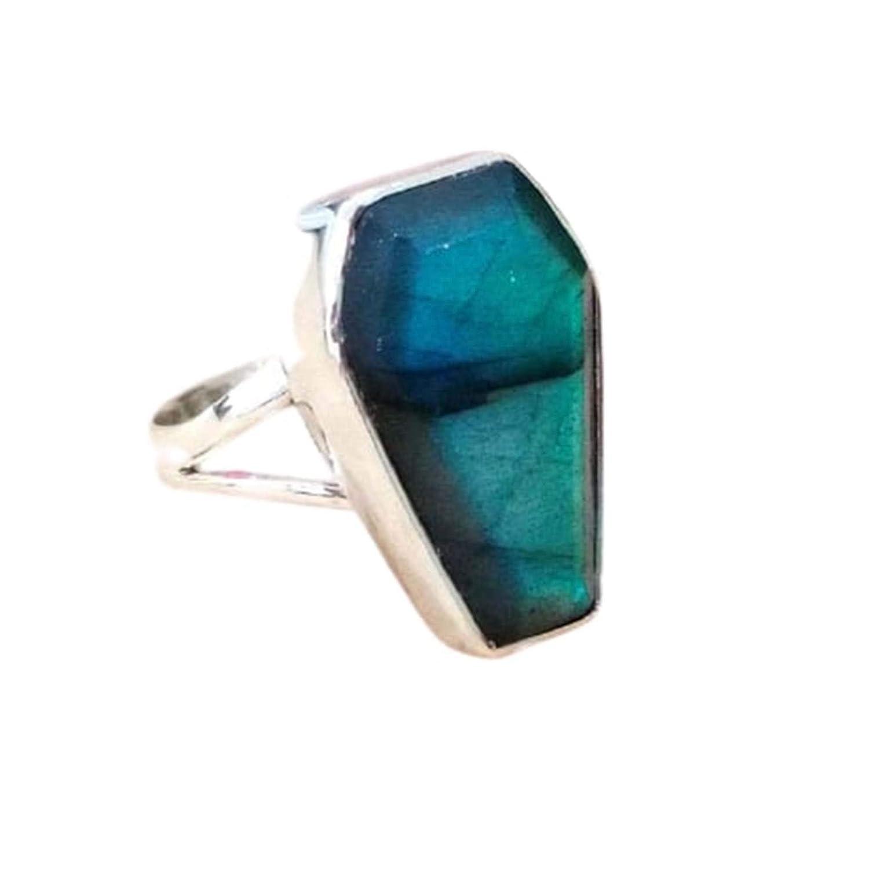 Women/'s Ring Jewelry,Gift Ring Ring for Woman Labradorite Coffin Ring,925 Sterling Silver Coffin Ring,Boho Ring Handmade Gemstone Ring