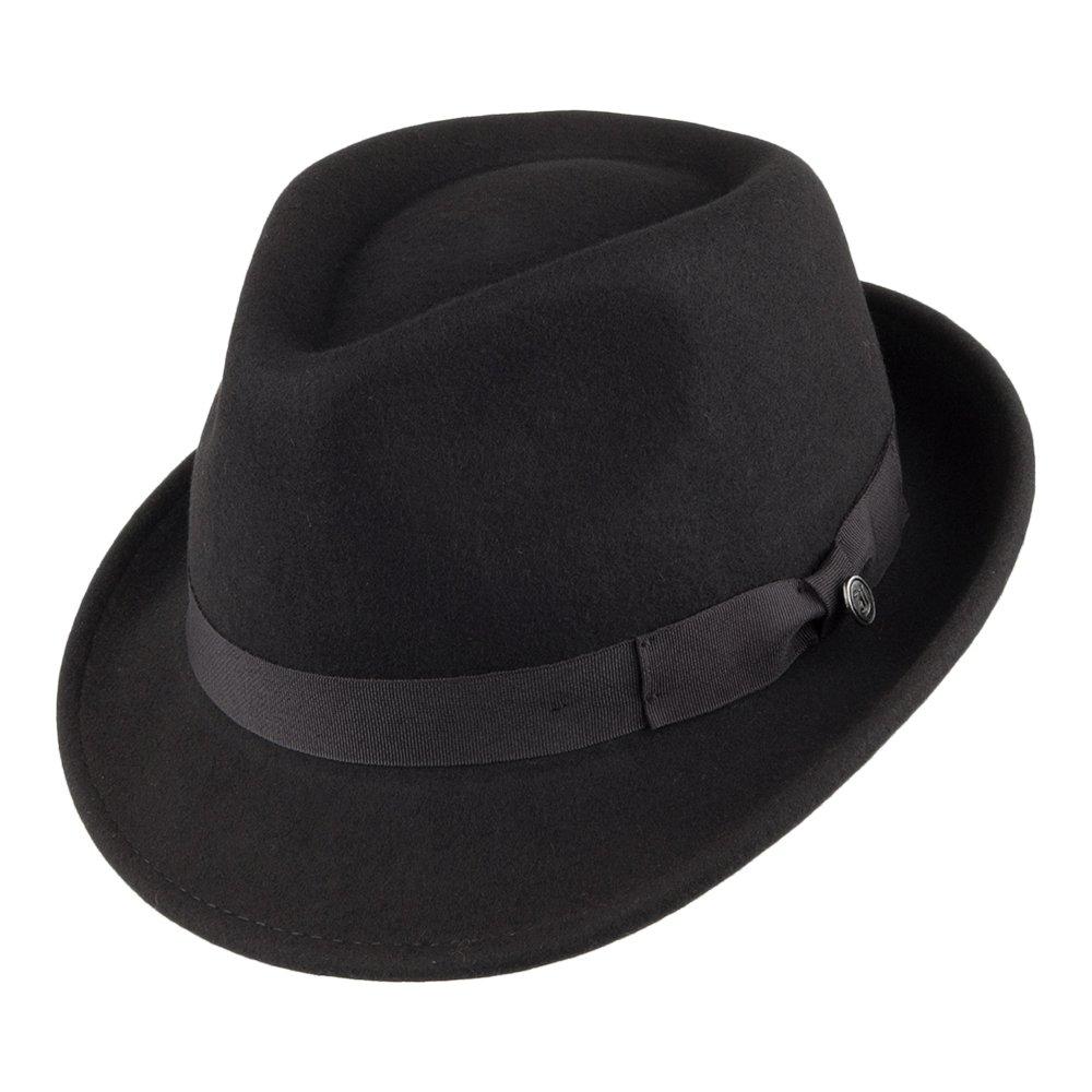 Jaxon Detroit Trilby Wool Felt Fedora Hat (Black c65f075314a
