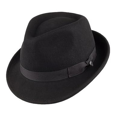 909a83dcc2e8a3 Jaxon Detroit Trilby Wool Felt Fedora Hat (Black, Large) at Amazon Men's  Clothing store: