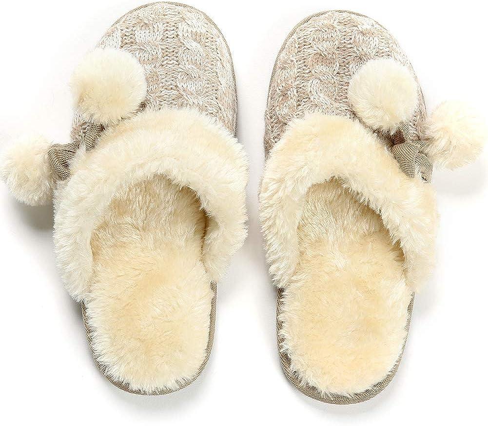 MaaMgic Womens Fuzzy Slippers Non-Skid