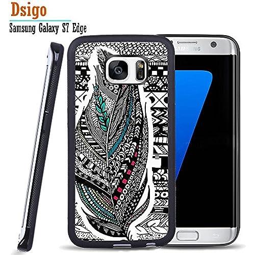 Galaxy S7 Edge Case, Samsung S7 Edge Black Case, Dsigo TPU Black Full Cover Protective Case for New Samsung Galaxy S7 Edge - Retro Aztec feather Sales
