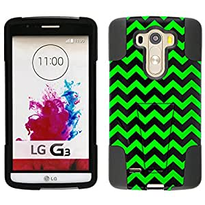 LG G3 Hybrid Case Chevron Zig Zag Green Black 2 Piece Style Silicone Case Cover with Stand for LG G3