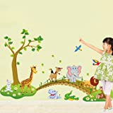 Forest Animal Cartoon Removable Wall Stickers For Kids Rooms Home Decor Diy Wallpaper Art Decals