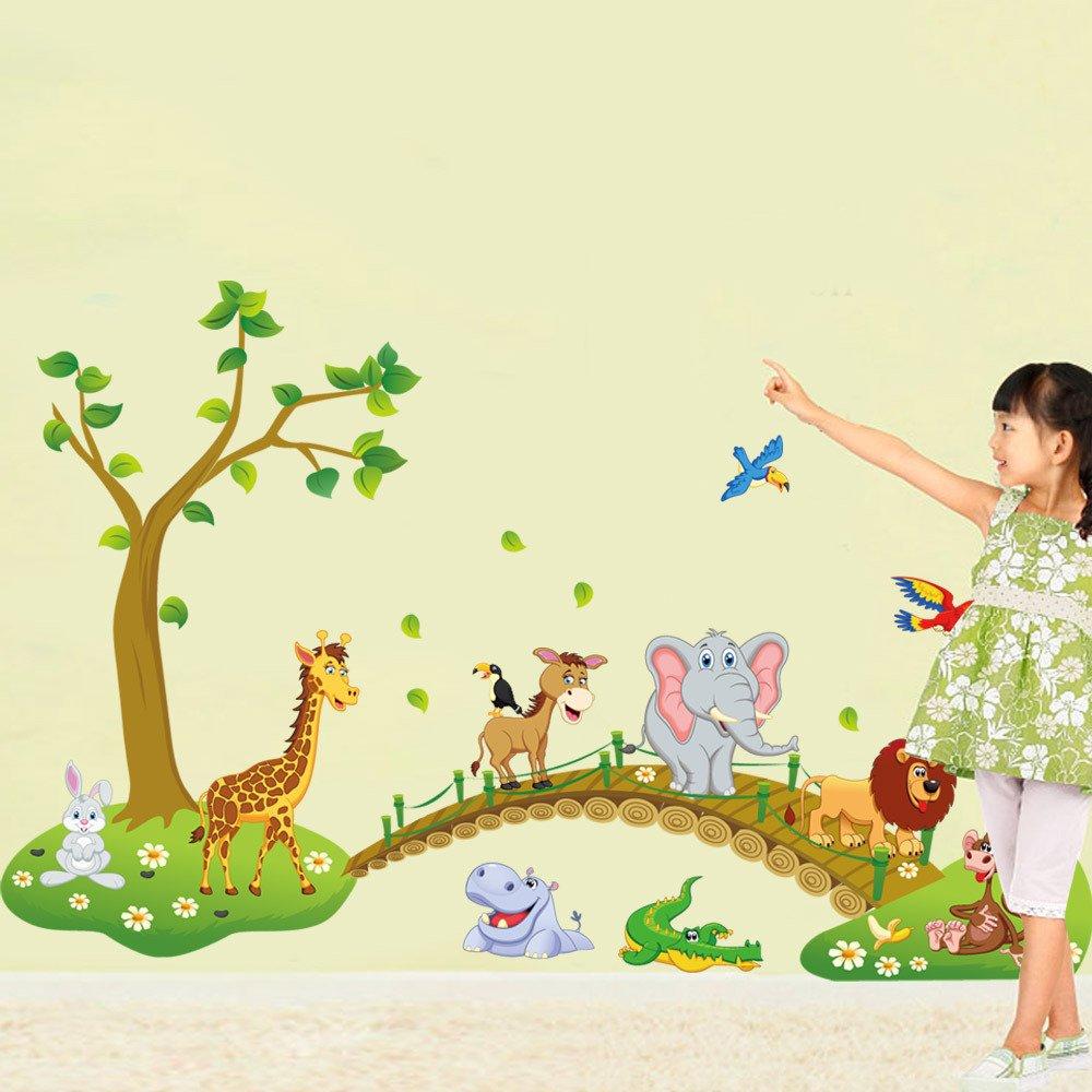 Rainbow Fox Albero Fiore Colorato Simpatici Gufi Leone Cervo Adesivi Murali, Camera dei Bambini Vivai Adesivi da Parete Removibili||Stickers Murali||Decorazione Murale (ABC1041)