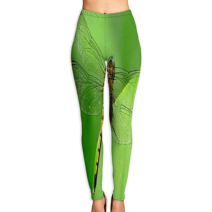 Amazon.com: HU MOVR Womens Yoga Pants Dragonfly Wallpaper ...