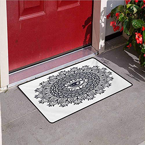(Jinguizi Occult Front Door mat Carpet Vintage Symmetrical Circular Occult Pattern Knowledge of The Hidden Third Eye Providence Machine Washable Door mat W19.7 x L31.5 Inch Grey)
