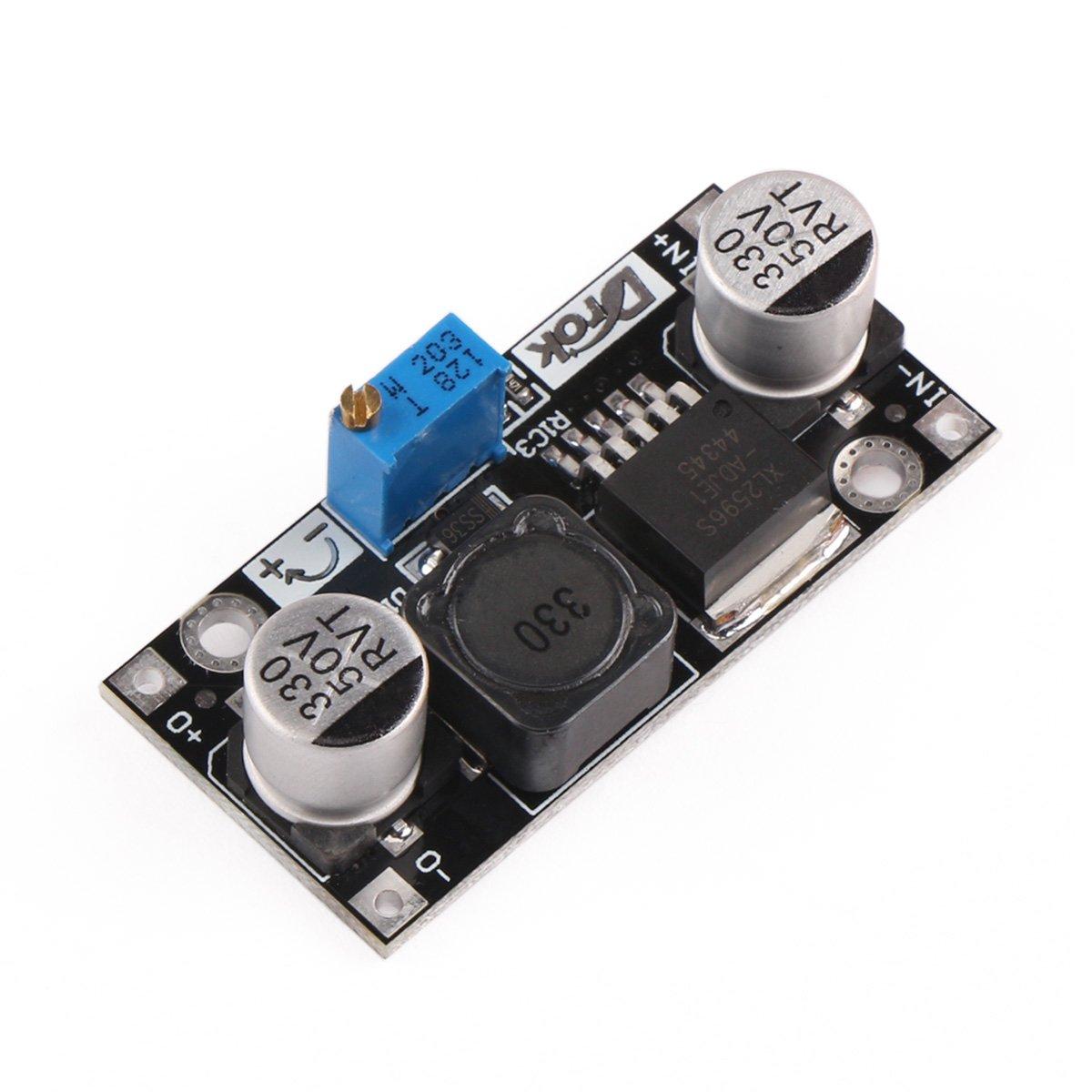 DROK Step Down Voltage Regulator Module DC 4.5-40V 36V 24V to 1.25-37V 12V 9V 5V 3V Variable Buck Converter Adjustable Electronic Power Supply Volt Reducer Transformer Stabilizer Board DCDC Converter