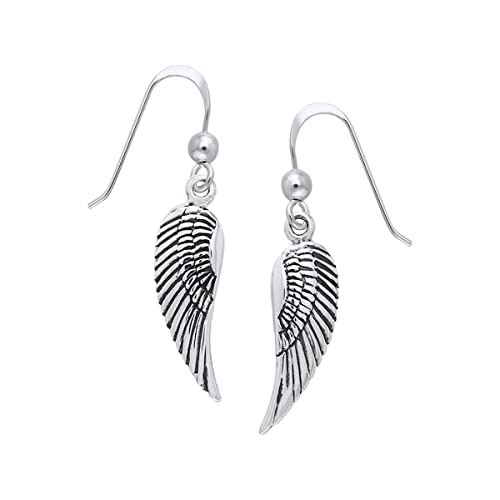 45442d5bf Image Unavailable. Image not available for. Color: Jewelry Trends Sterling  Silver Guardian Angel Wings Dangle Earrings