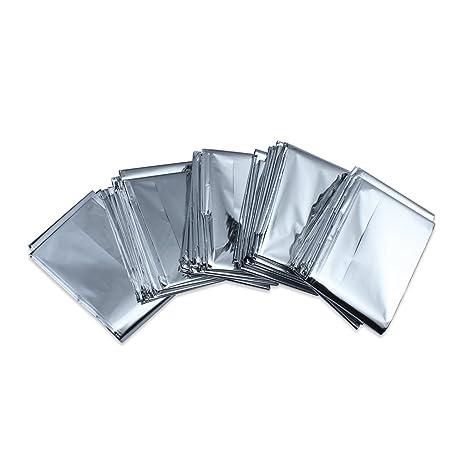 Paquete De 5 Supervivencia en Emergencias Manta carpa de aluminio a prueba de Solar Térmica Agua rescate Manta
