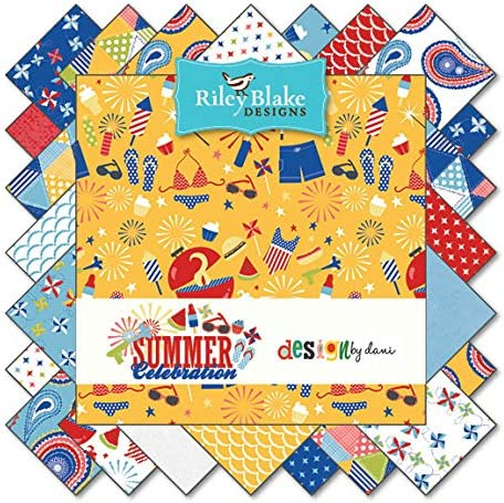 Summer Celebration 5 Fabric Squares by Dani Mogstad for Riley Blake 18 Pieces