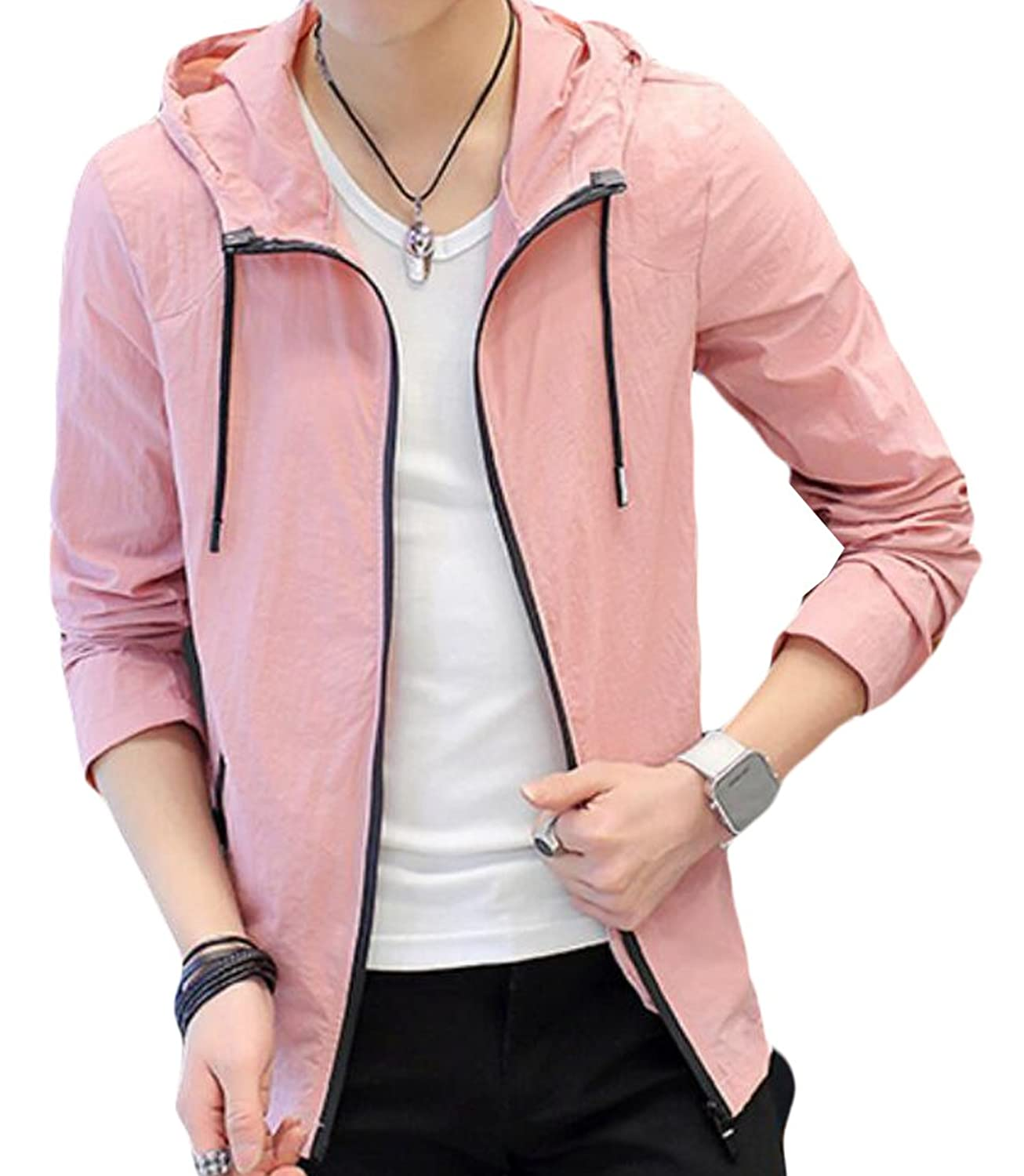 Acquaa Mens Outwear Sunscreen Thin Breathable Slim Bomber Jacket