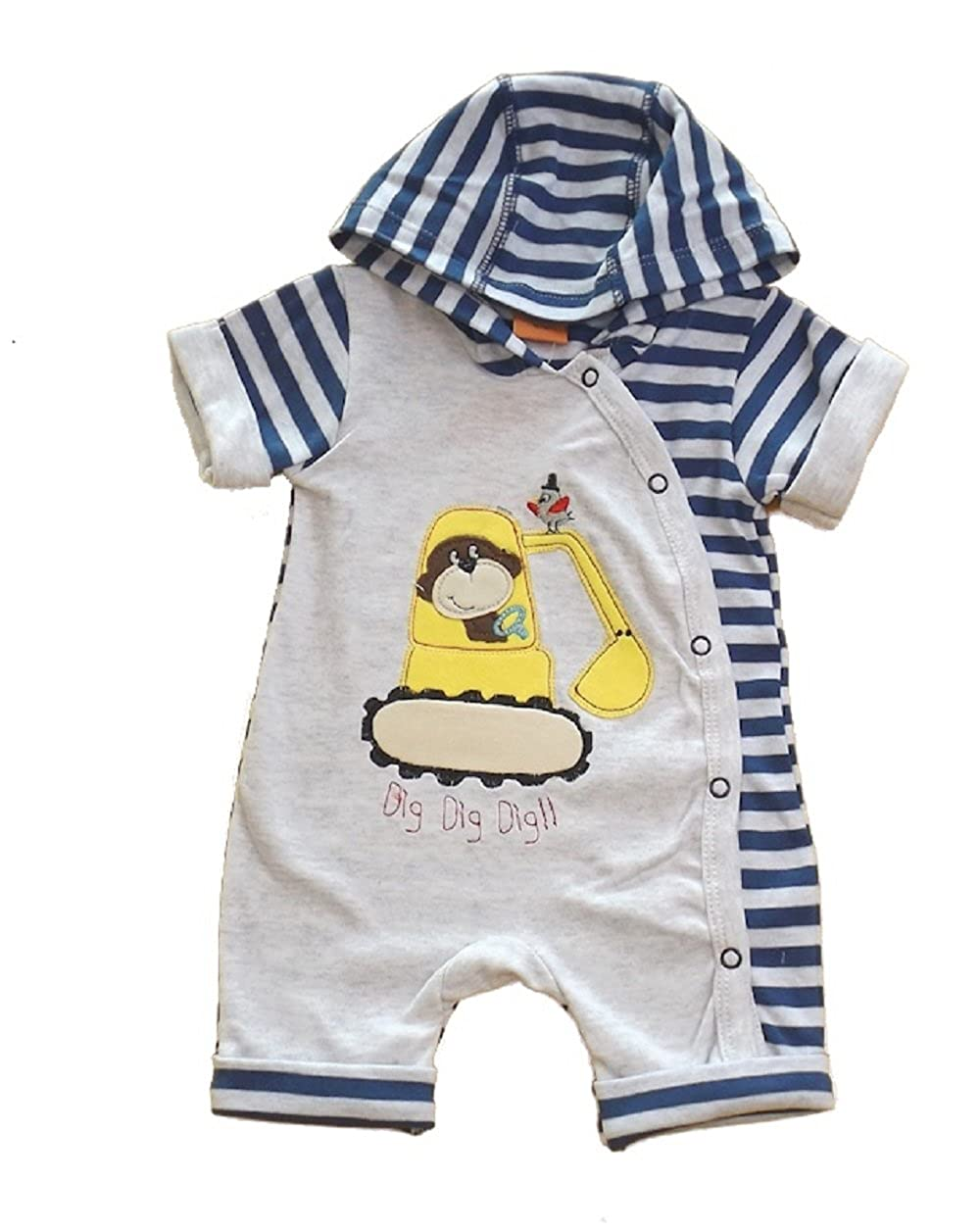 Mellow Be Cheeky Chimp Baby Boy Cute Little Hooded Romper with Digger and Chimp Applique in Grey and Navy Available for Ages Newborn to 6 Months.