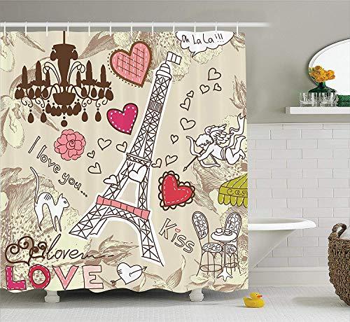 Paris Decor Shower Curtain Set Doodles Illustration of Eiffel Tower Hearts Chandelier Flower Love Valentines Vintage Bathroom Accessories Long Beige Pink - Wheat 4 Light Chandelier