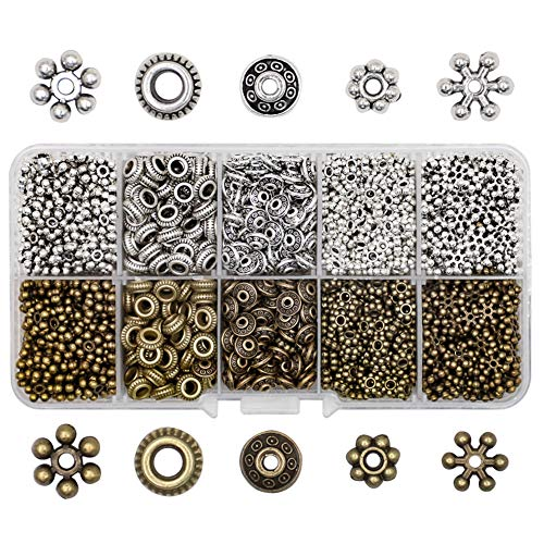 Ztl 500 Pieces Antique Silver Bronze Spacer Beads for Jewelry Making, Bracelets, Necklaces, Earrings