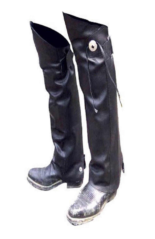 Leather MOTORCYCLE Half CHAPS Short Gaiter Leg Warmers Leggins NEW Gauchos YKK - WITH Concho & Fringe (3x to 4x)
