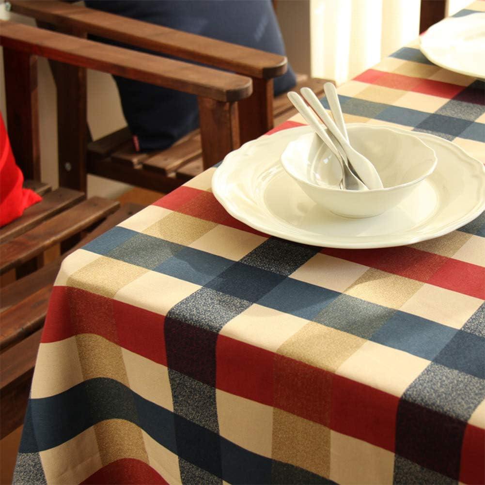 Red Blue Beige Large Grid tavolo da conferenza Pinshang addensare rosso blu beige grande griglia casa cotone per la decorazione per forno a microonde scrivania 100X140CM tavolo per computer
