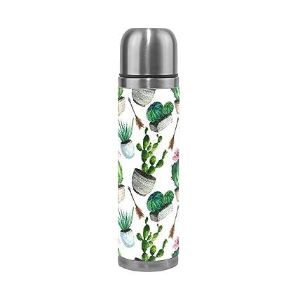 Amazon.com: hangwang Cactus botella de agua de acero ...