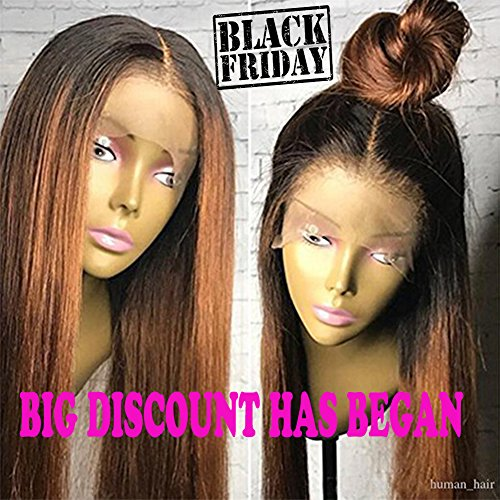 Human Hair Straight full lace wig 100% Real Brazilian Hair Ombre Black Roots 1B 30 Color 130% Density Wig For Black Women (16'', lace frontal wig) by Dream Beauty