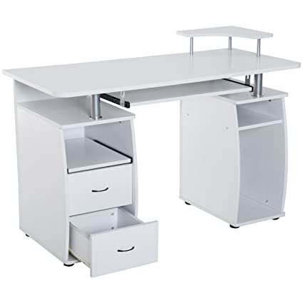 Amazoncom White Wooden Home Office Style Computer Desk Cpu Storage