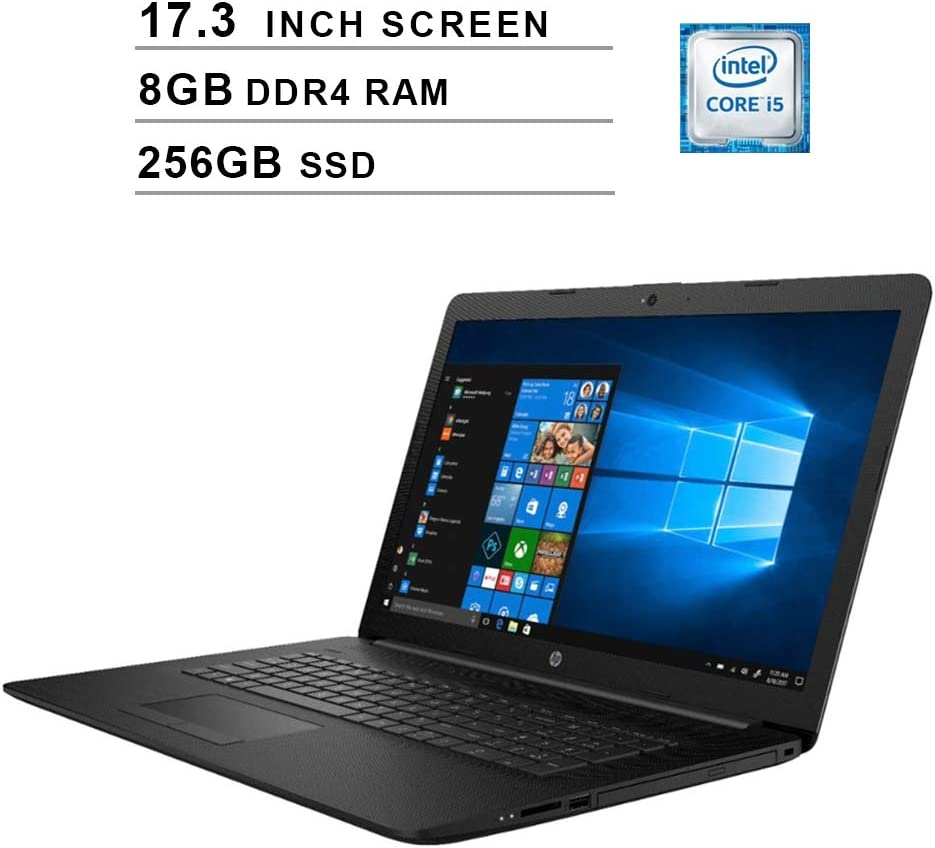 HP 2020 Newest 17.3 Inch Premium Laptop, Intel Quad-Core i5-8265U up to 3.9 GHz, Intel UHD 620, 8GB DDR4 RAM, 256GB SSD, Webcam, DVD, HDMI, WiFi, Bluetooth, Windows 10 Home, Black