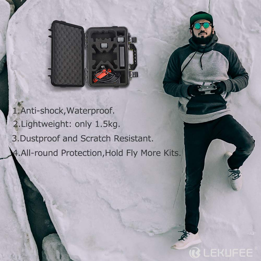 Lekufee Carrying Case Compatible for DJI Spark, Waterproof Hard Portable Case Holds 4 Batteries and DJI Spark Fly More Kits by Lekufee (Image #5)