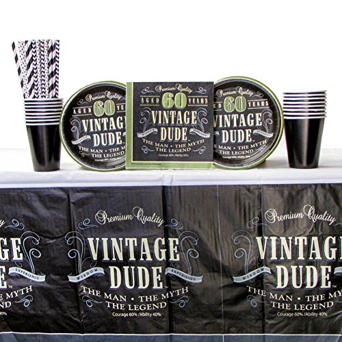 Vintage Dude 60th Birthday Party Supplies Pack for 16 Guests | Includes Straws, 16 Paper Dessert Plates, 16 Paper Luncheon Napkins, Cups and Tablecover | 60th Birthday Party Supplies For Men | Sixty