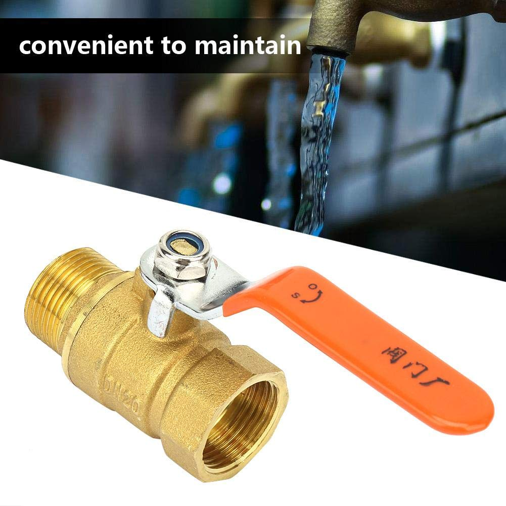 Water Normal Pressure Normal Temperature Two Directions Silk Ball Valve Copper DN20 Ball Valve DN20 3//4 inch BSP Ball Valve Brass Tubular Ball Valve Male and Female Thread 3//4BSP DN20 Valve