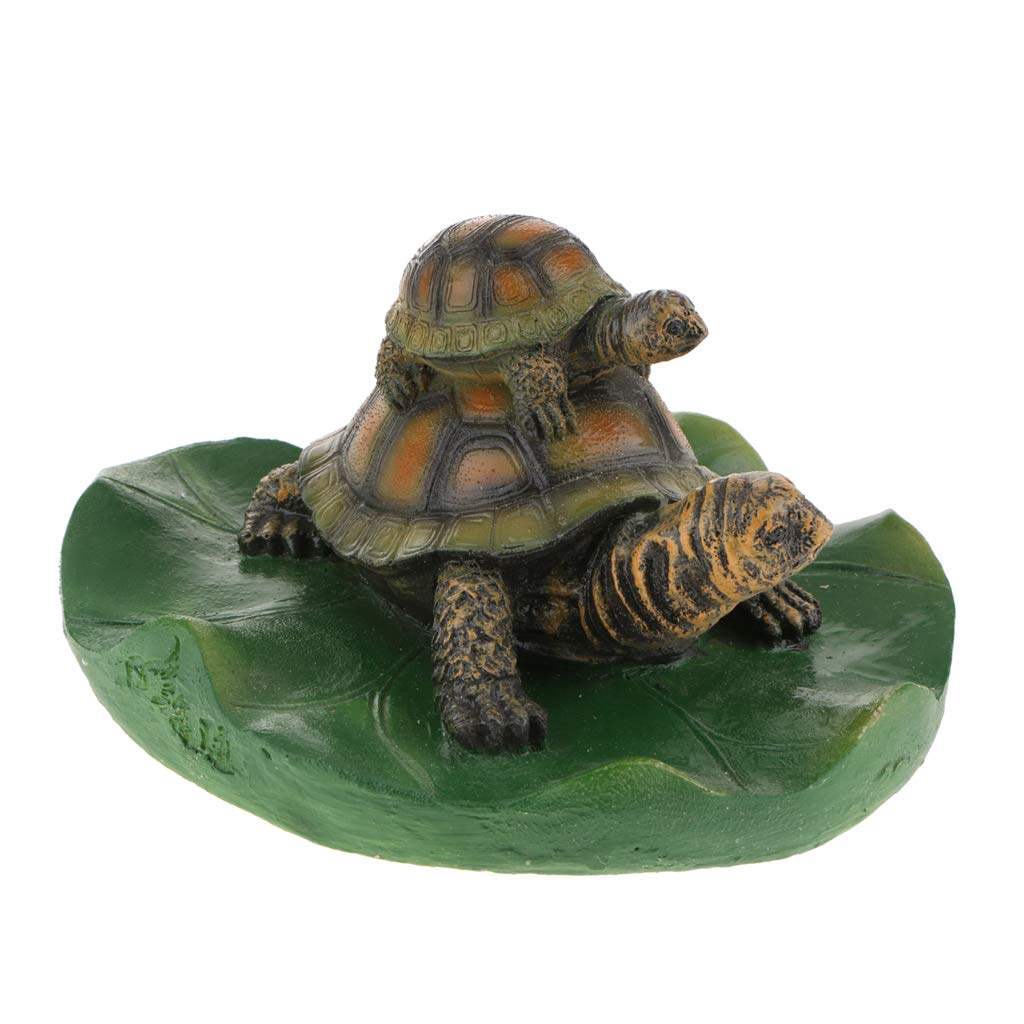 Fityle 14 Kinds Animal Ornament Water Floating Turtle Frog on Lotus Leaf Figurine Creative Resin Green Plants Kid Toys Fountain Decoration Garden Decor - 4 Light Brown Family, as described