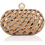 Ladies luxury Large Rhinestone Glass diamonds Evening Bag Handbag Clutches (Gold)