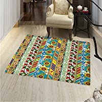 Striped Small Rug Carpet Colorful Summer Spring Retro Patchwork Style Pattern Sunflower Butterfly Strawberry Door mat Indoors Bathroom Mats Non Slip 2x3 Multicolor