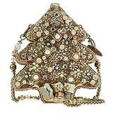 Mary Frances All Aglow Beaded Jeweled 3D Christmas Gift Holiday Gold Tree Handbag Shoulder Bag