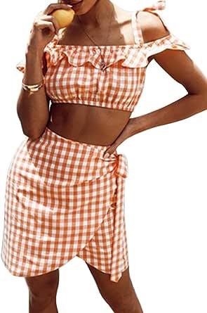 FSSE Womens Plaid 2 Piece Outfits Off Shoulder Crop Top & Beach Mini Skirt Playsuits