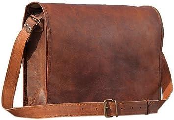 Men/'s Genuine Vintage Brown Leather Messenger Bag Shoulder Laptop Bag  Briefcase