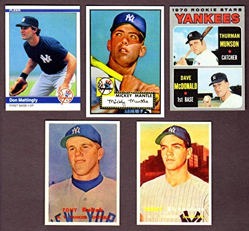 New York Yankees Topps Baseball (5) Card Reprint Rookie Lot w/ Original Backs**1952 Mickey Mantle Topps Rookie Card, 1957 Tony Kubek Topps Rookie Card, 1957 Bobby Richardson Topps Rookie Card, 1970 Thurman Munson Topps Rookie Card, 1984 Don Mattingly Fleer Rookie Card** -