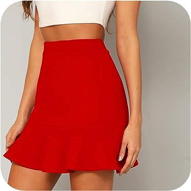 Falda roja con Volantes para Fiesta de Verano con Cintura Alta ...