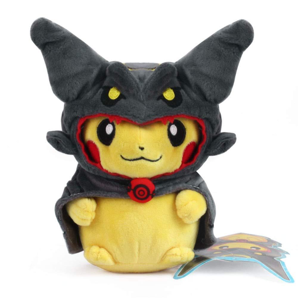 D-Khaleesi Rayquaza Series Mega Poncho Pikachu Figure Animal Toys Plush Doll Collectable Xmas Gift (Black Color) by D-Khaleesi