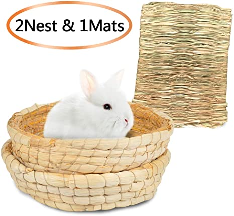 Hideaway Hut Toy for Bunny Guinea Pig Chinchilla Ferret Natural Hand Woven Seagrass Play Hay Bed 2 Ball+Bed Tfwadmx Rabbit Grass House