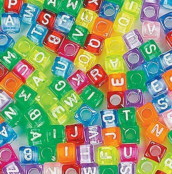 Tiny Letters - Fun Express Bright Alphabet Cube Beads Craft - 260 Pieces