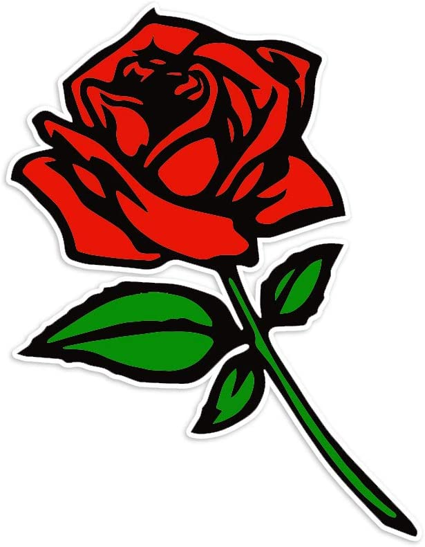 """Bargain Max Decals - Red Rose - Sticker Decal Notebook Car Laptop 5"""" x 3"""" (Color)"""