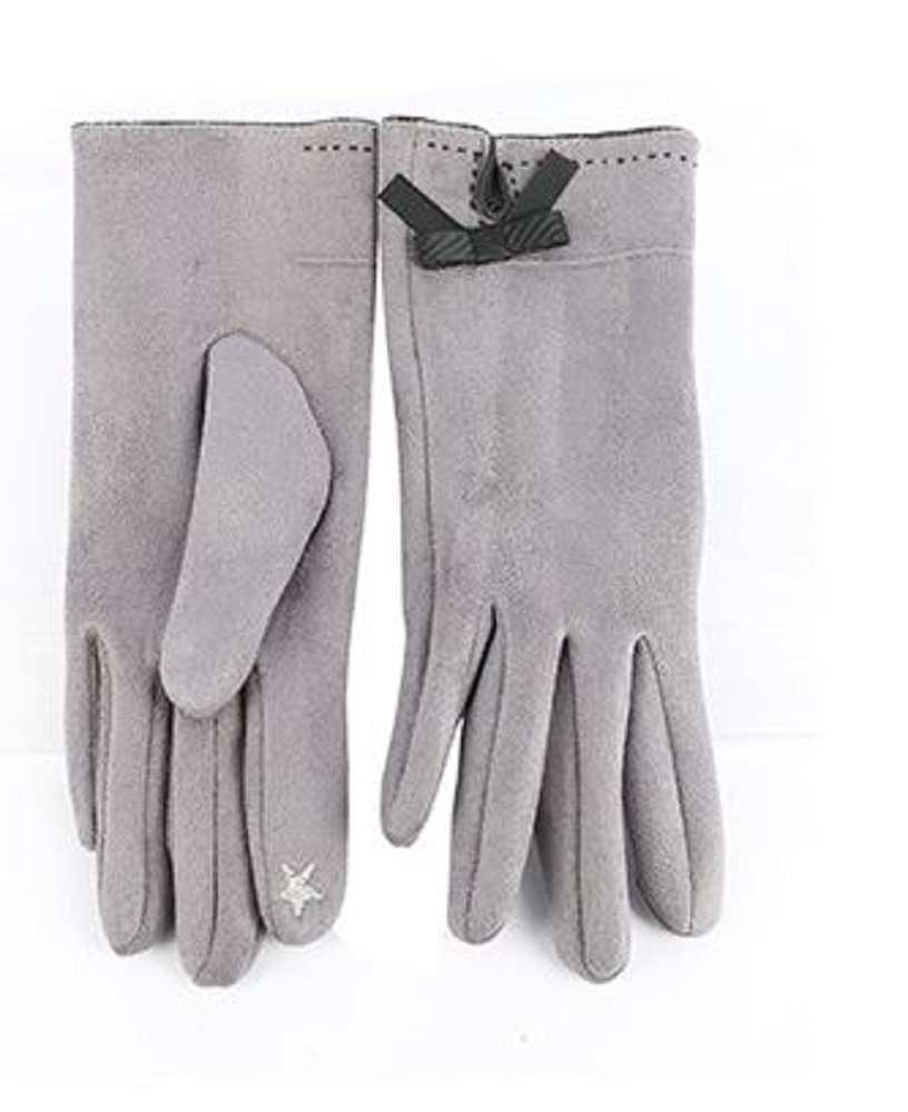 RI001 Gray Faux Suede Touchscreen Gloves
