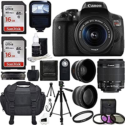 Canon EOS Rebel T6i 24.2 MP EF-S Digital SLR Camera USA warranty with Canon EF-S 18-55mm f/3.5-5.6 STM Zoom Lens + Deluxe Case + Wireless Remote + UV Filter with 24GB Complete Deluxe Accessory Bundle